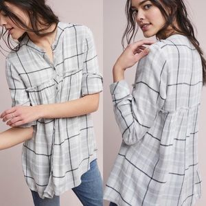 Cloth & Stone Plaid Flannel Gray Fringe Tunic Top